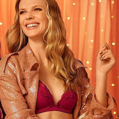 黛安芬-花樣年華系列記憶枕V型 B-C罩杯內衣 柔霧紅