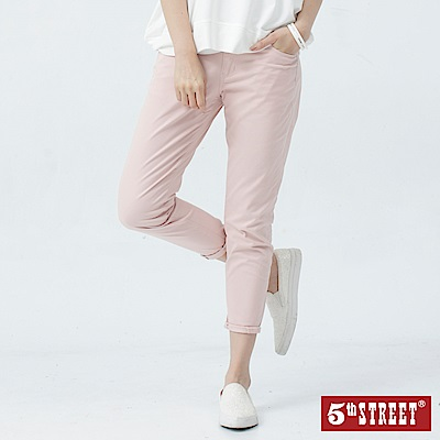 5th STREET 隨性夏日休閒九分色褲-女-粉紅色