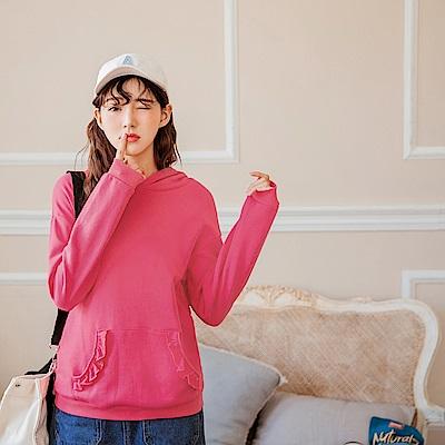 親子裝~荷葉滾邊口袋連帽上衣-OB嚴選