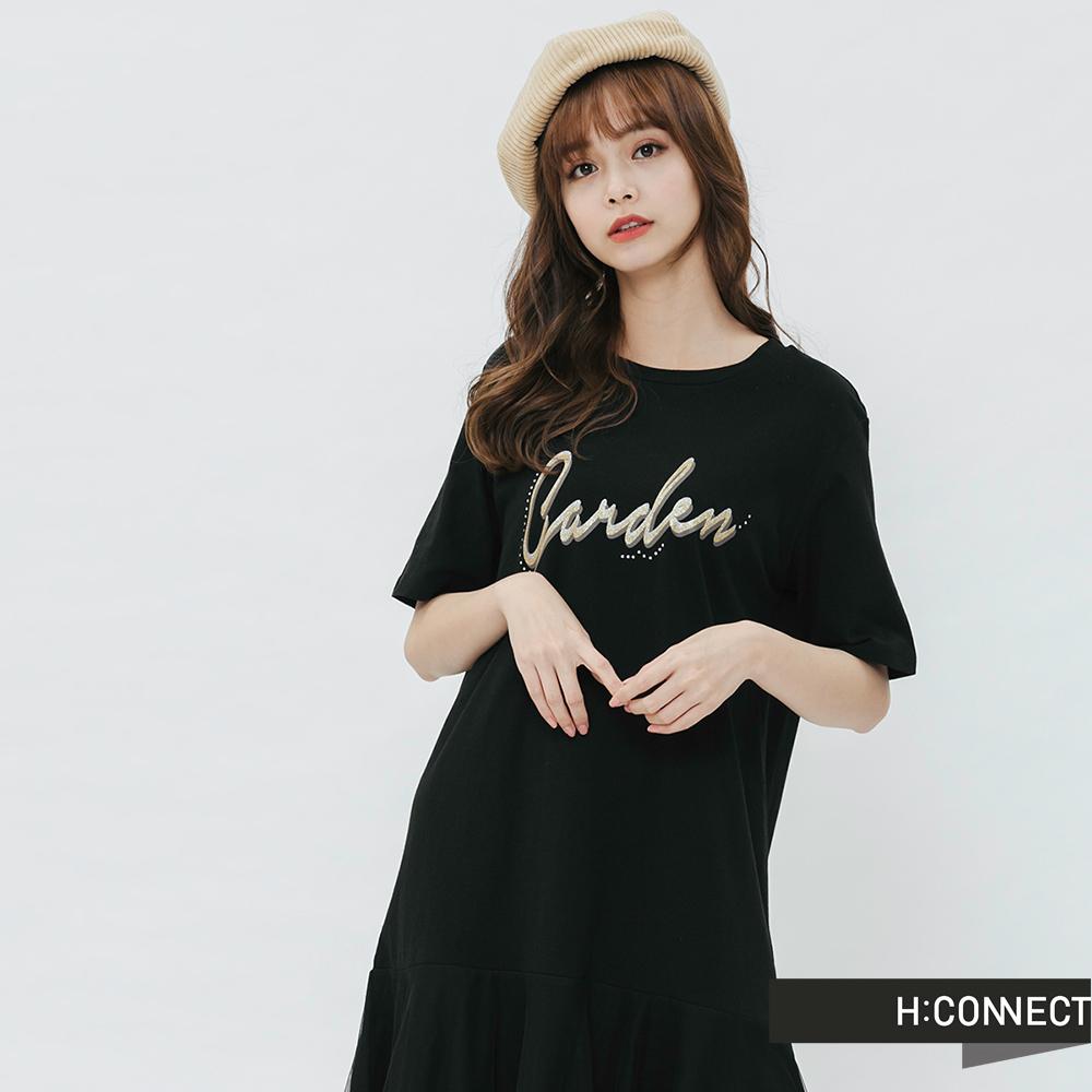 H:CONNECT 韓國品牌 女裝-網紗拼接印字洋裝-黑