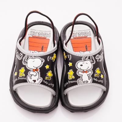 SNOOPY童鞋 史努比拖鞋款 NI5020黑銀(中小童段)