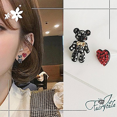iSFairytale伊飾童話 情人小熊 愛心925銀針耳環