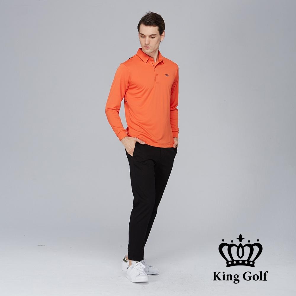【KING GOLF】素面薄款LOGO燙印長袖POLO衫-橘色