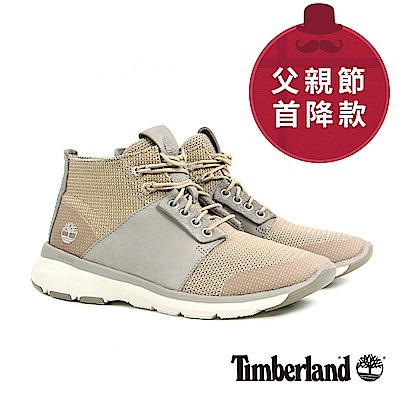 Timberland 男款淡灰褐色皮革布料休閒鞋