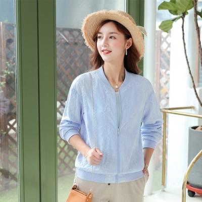 初色  寬鬆開衫式繡花薄款外套-淺藍色-(M-2XL可選)