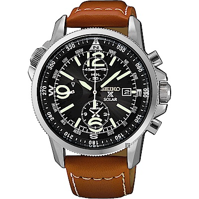 SEIKO 精工 Solar 超越極速計時腕錶(SSC081P1)-黑x咖啡帶/42mm