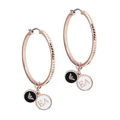 Emporio Armani亞曼尼 圓形品牌標誌C圈耳環 玫瑰金