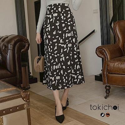 東京著衣 韓國姊姊修身長腿豹紋長裙-S.M(共二色)