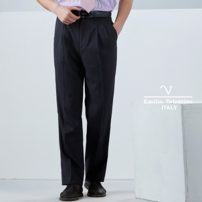 Emilio Valentino 雅致品味雙褶西褲_黑細條70-9B2723