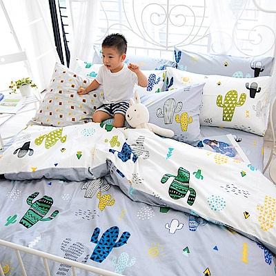 OLIVIA 仙人掌 灰  標準單人床包冬夏兩用被套三件組 200織精梳純棉