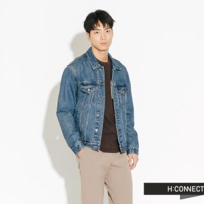 【周慶限量款】H:CONNECT 韓國品牌 男裝-經典刷色牛仔外套-藍