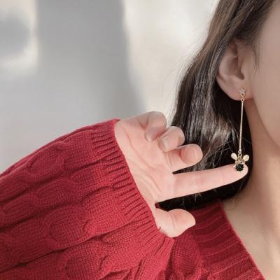 梨花HaNA 韓國黑寶石小老鼠貓眼石鑲嵌長耳環
