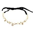 kate spade經典珍珠串鍊設計鑽鑲飾緞帶式項鍊(金)
