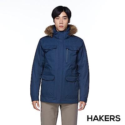【HAKERS 哈克士】男款 三合一防水羽絨外套(深藍)