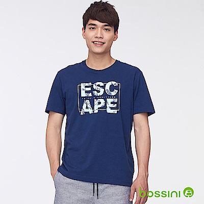 bossini男裝-印花短袖T恤38海軍藍