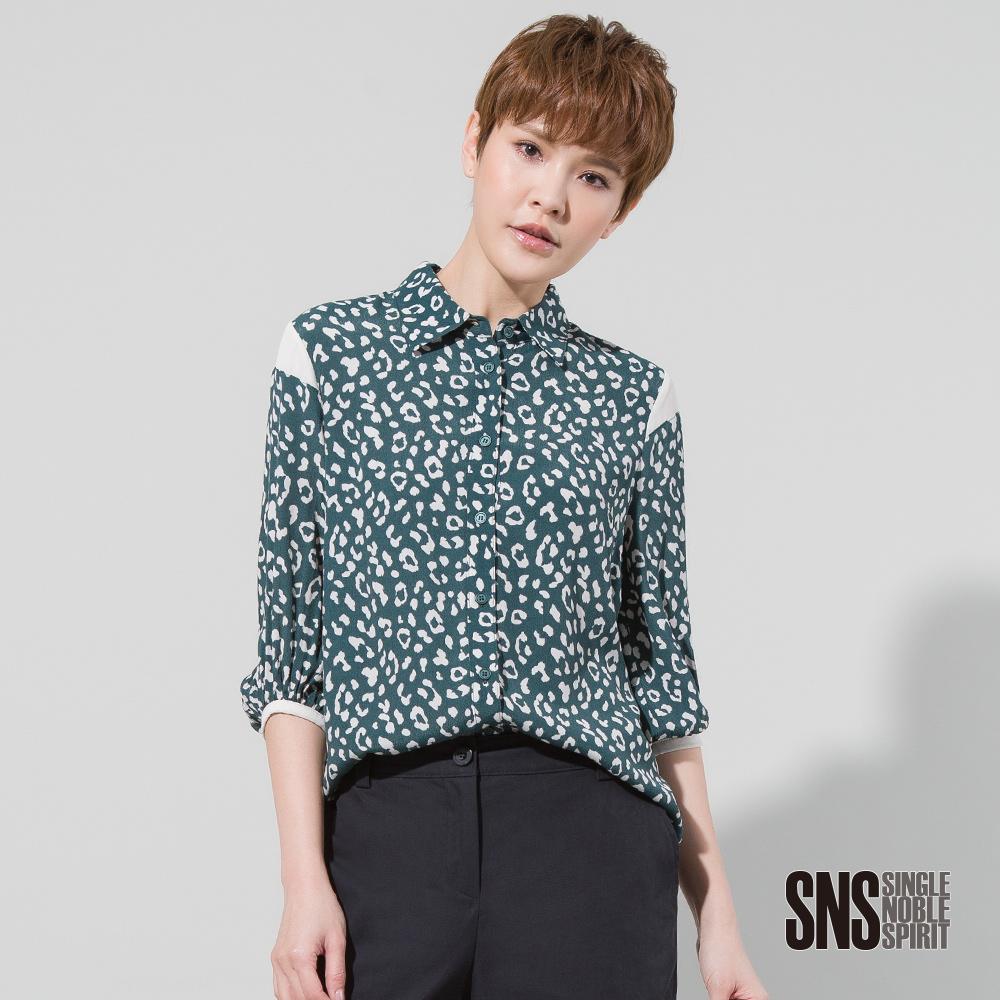 SNS 豹紋圖樣質感雪紡襯衫(2色)