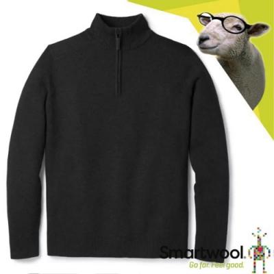 SmartWool 男 美麗諾羊毛 長袖半開襟保暖上衣_炭黑色