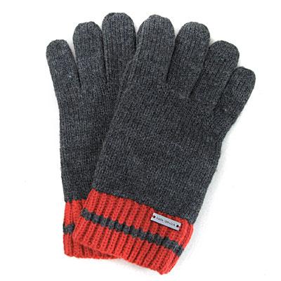 MICHAEL KORS 金屬飾牌雙色針織條紋毛線手套(深灰/橘紅)
