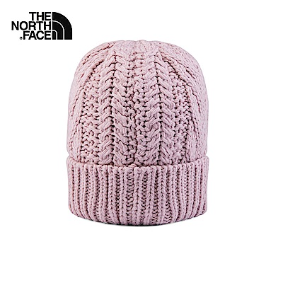 The North Face北面淺粉色保暖麻花編織針織帽|3FJGBEJ