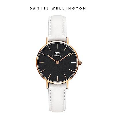 DW 手錶 官方旗艦店 28mm金框 Petite 純真白真皮皮革錶