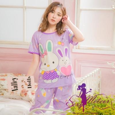 睡衣 全尺碼 牛奶絲插畫兔子短袖二件式睡衣組(魔幻紫) Sexy Meteor