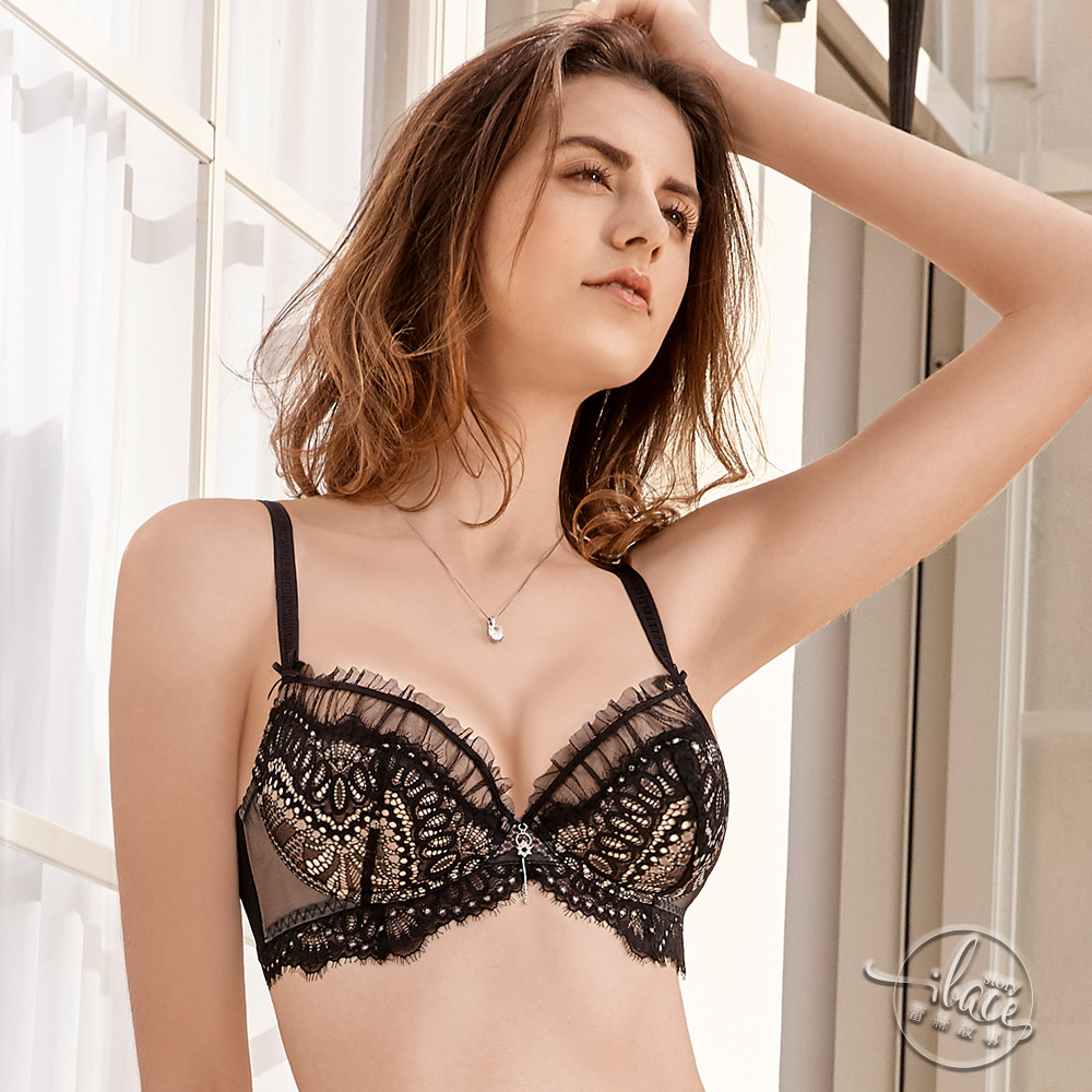 LADY 戀戀巴洛克系列 刺繡深線內衣 B-F罩(華麗黑)