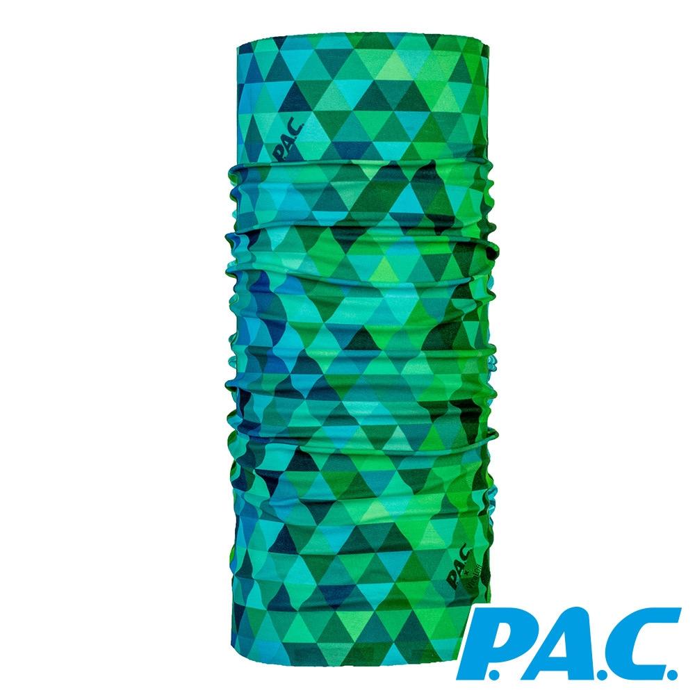 【PAC德國】透氣快乾抑臭抗菌頭巾PAC8908012藍綠三角/登山/運動/路跑/單車配件