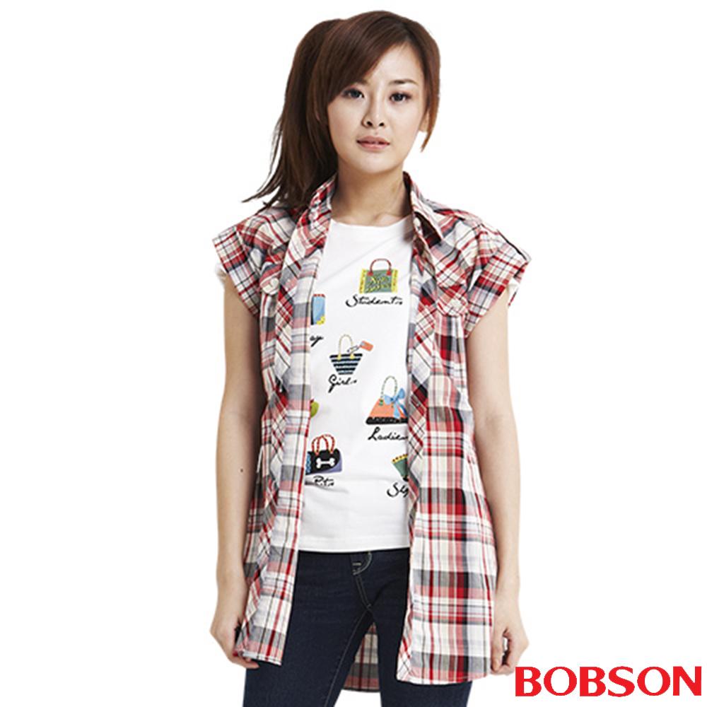 BOBSON  女款格紋長版短袖襯衫(紅13)
