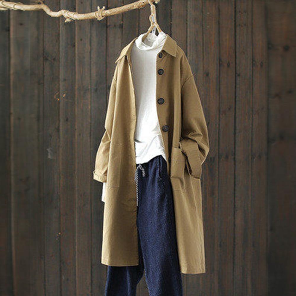 沉穩大氣寬鬆斜紋全棉後開叉翻領風衣中長版外套-設計所在