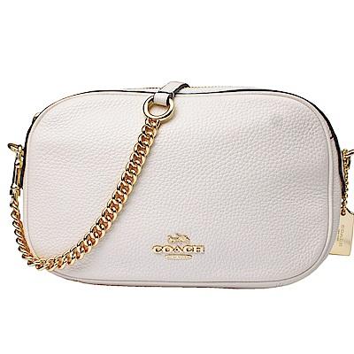 【COACH】金車標誌 荔枝皮格紋皮革鏈袋斜背包(白色)