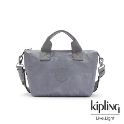 Kipling 光澤霧灰紫迷彩簡約手提肩背托特包-KALA MINI