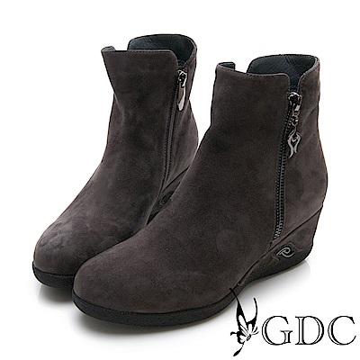 GDC-真皮奢華質感簡約楔型側扣飾短靴-灰色