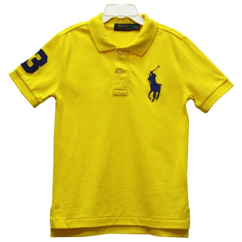 Ralph Lauren 童裝刺繡數字3經典大馬短袖POLO衫-檸檬黃色(6歲)