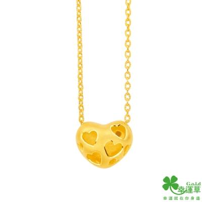 幸運草金飾 感恩的心黃金/水晶鎖骨項鍊
