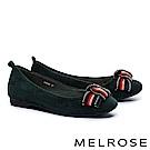 平底鞋 MELROSE 復古奢華晶鑽多色織帶蝴蝶結平底鞋-綠