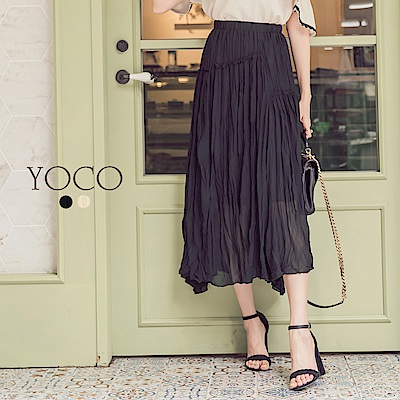 東京著衣-yoco唯美輕甜抓皺壓褶柔軟長裙-S.M.L(共二色)