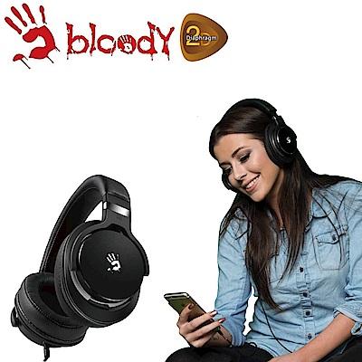 【A4 bloody】魔磁雙振膜高質音樂耳機 - M550-BG(黑灰)