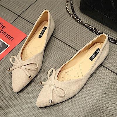 韓國KW美鞋館 獨家款華麗全場平底鞋-米色