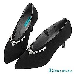 Robinlo 華麗感立體鑽飾羊絨尖頭細跟鞋 黑