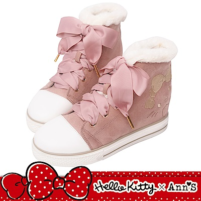 HELLO KITTY X Ann'S毛茸茸不對稱刺繡夢幻織帶內增高球鞋
