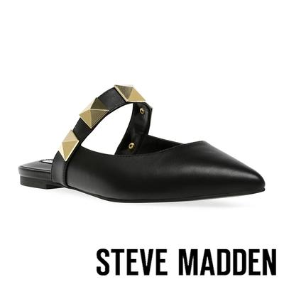 STEVE MADDEN-FRAMEWORK 鉚釘尖頭平底拖鞋-黑色