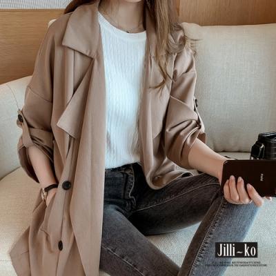 JILLI-KO 韓版個性大翻領風衣外套- 灰/卡