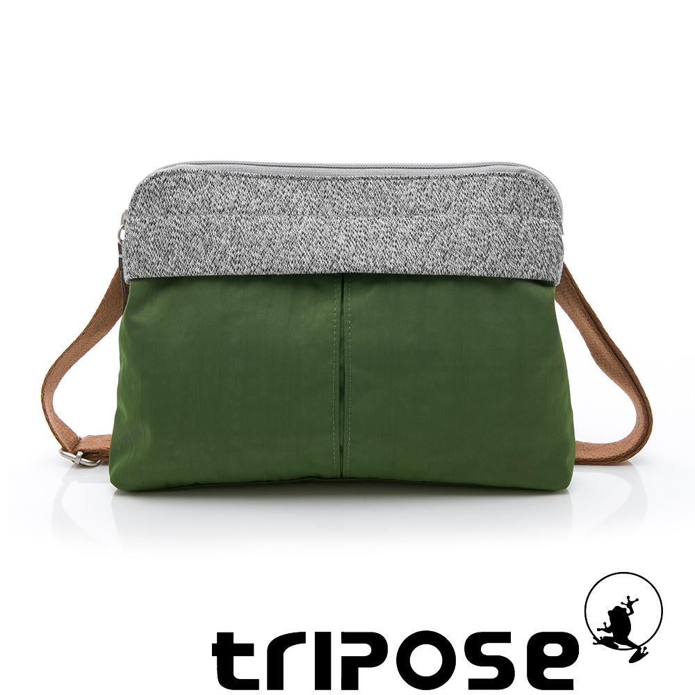 tripose 漫遊系列 岩紋x微皺尼龍貼身斜背包 草綠
