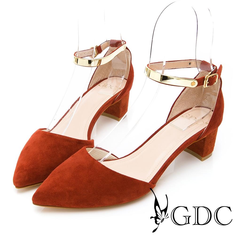 GDC-歐美質感羊絨高貴金屬繞踝中空尖頭粗跟涼鞋-桔色