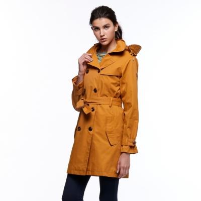 【HAKERS 哈克士】女款 防水風衣外套(棕黃色)