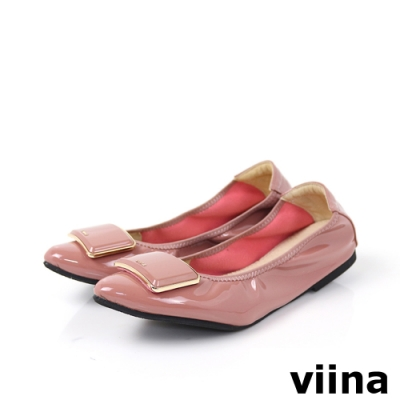 viina 尖頭鏡面烤漆金邊摺疊鞋-藕粉