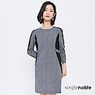 獨身貴族 俐落女子腰間釦環千鳥紋洋裝(1色)