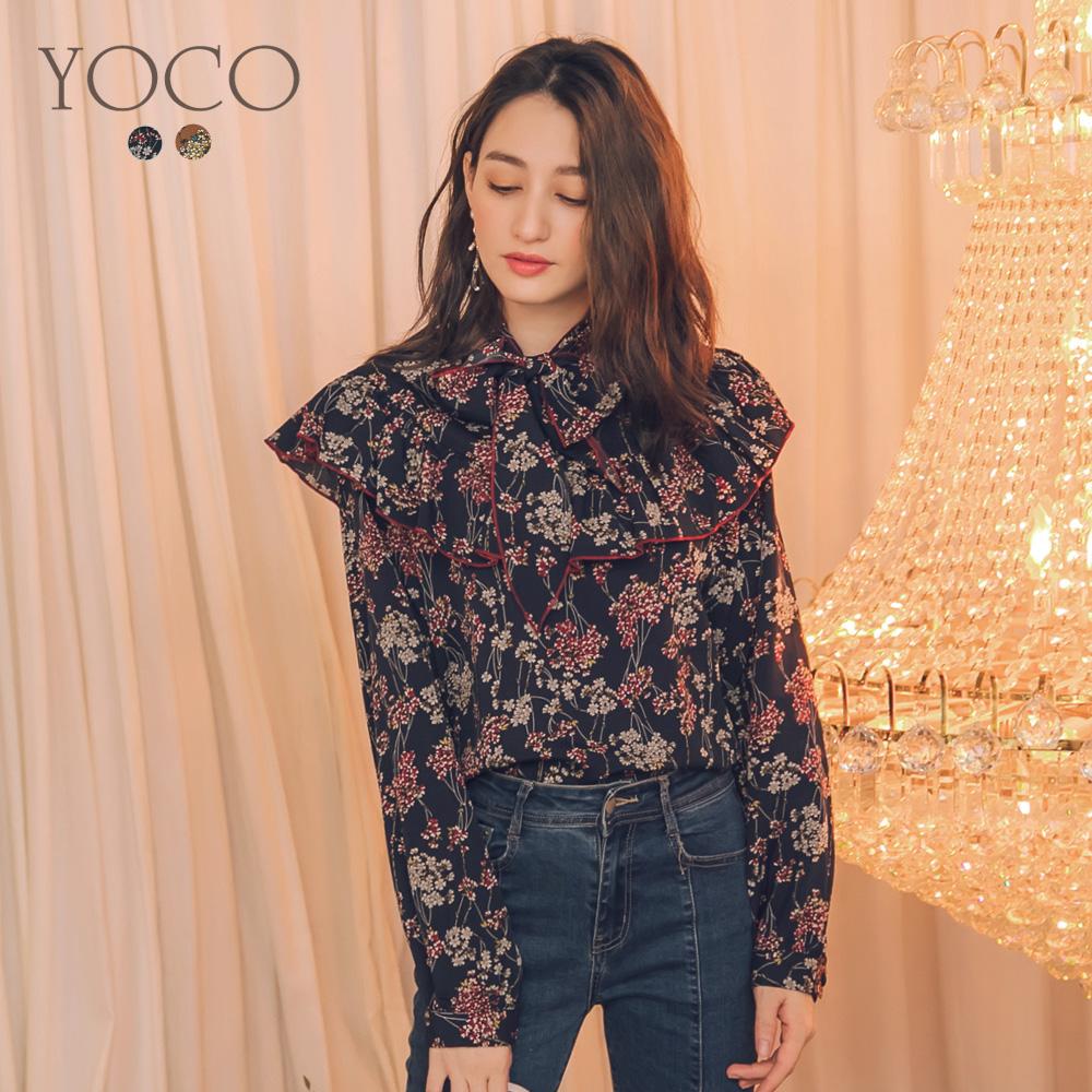 東京著衣-yoco 甜氛少女繞頸綁帶印花大領荷葉上衣-S.M.L(共二色)