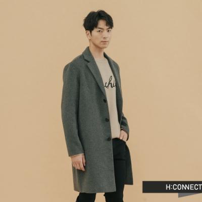 H:CONNECT 韓國品牌 男裝 - 修身翻領羊毛外套  - 橄欖綠