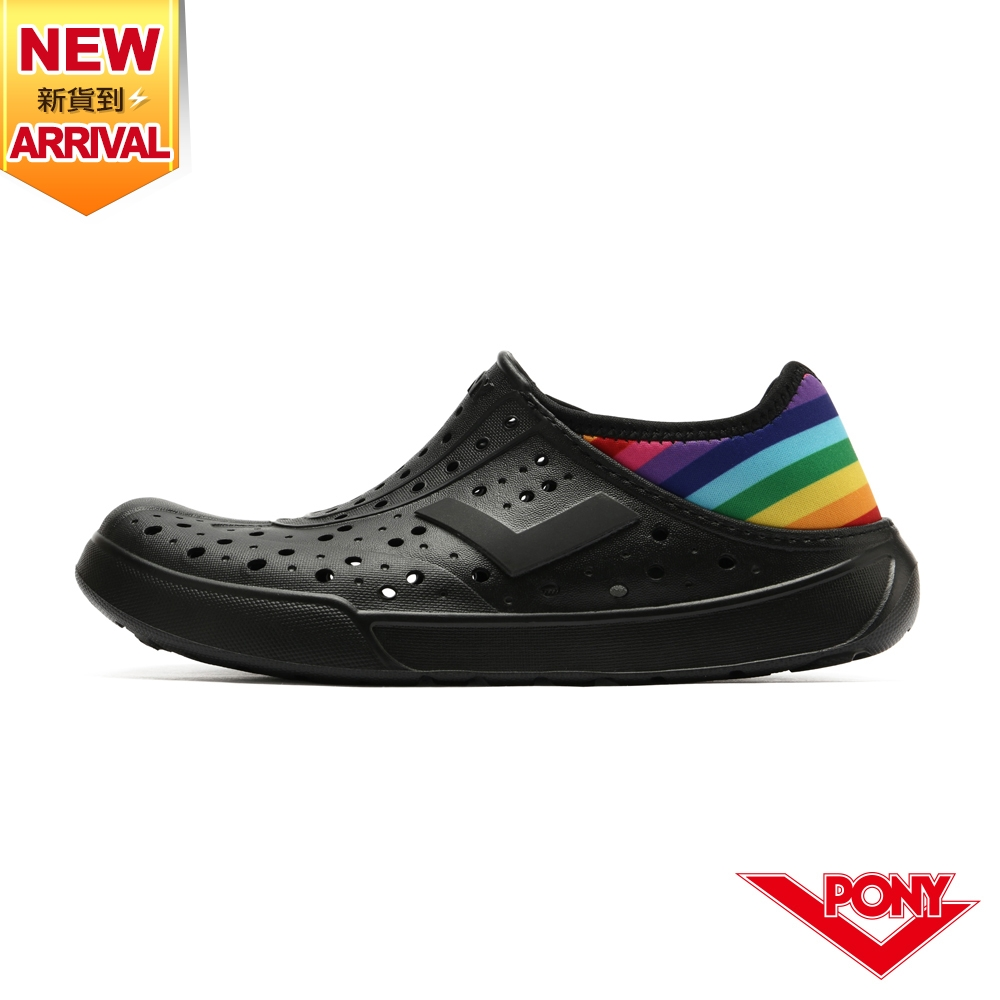 【PONY】ENJOY洞洞鞋 踩後跟 雨鞋 水鞋 中性款-彩虹/黑